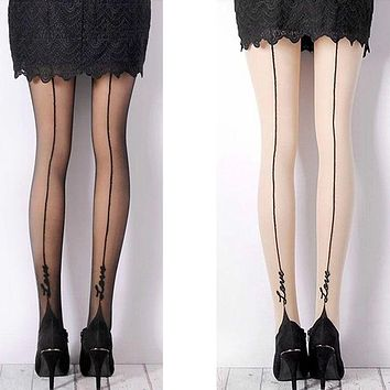 1 Pair Female Sexy Stockings English Love Letter Tattoo Jacquard Pantyhose For Woman Girl