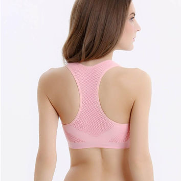 2016 Hot Women Sports Padded Bras Crop Tops  Gym Fitness Sports Stretch New Crop Tops Good-looking JUL 27