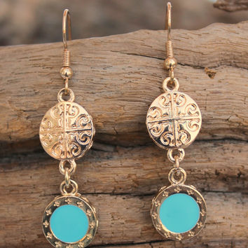 Medallion Drop Earrings, Blue