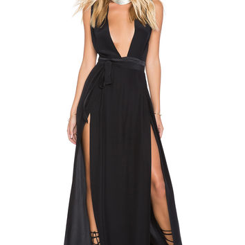 OLCAY GULSEN SU2C x REVOLVE Double Slit Maxi Dress in Black