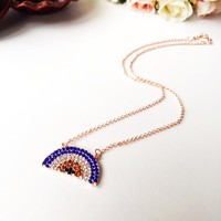 Evil Eye Necklace - Rose Gold Evil eye Jewelry - Zirconia evil eye necklace