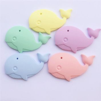 20PCS BPA Free Silicone Whale Pendant Teether DIY Baby Pacifier Dummy Teething Chewable Pendant Nursing Necklace Jewelry Toy
