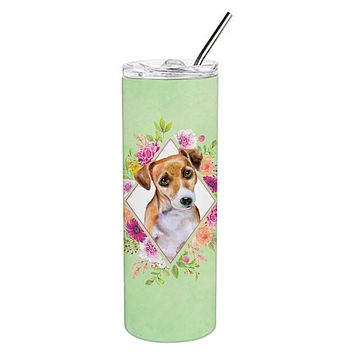 Jack Russell Terrier #1 Green Flowers Double Walled Stainless Steel 20 oz Skinny Tumbler CK4315TBL20