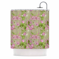 "Alisa Drukman ""Romantic"" Green Pink Shower Curtain"