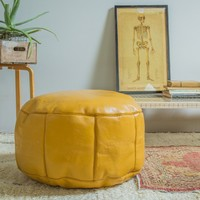Antique Revival Leather Moroccan Pouf Ottoman - Mustard Yellow