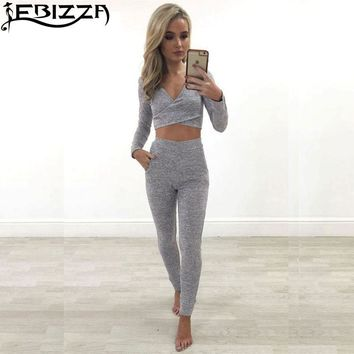 Ebizza Sexy V Neck Tow Piece Suit Bodycon Overalls Womens Working Summer 2017 Fashion High Waist Full Sleeve Playsuit Leotard