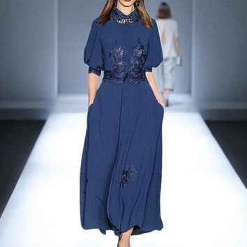 2019 Summer Fall Half Sleeve Lapel Neck Floral Print Embroidery Lace Blue Mid-Calf Length Dress Luxury Runway Dresses JL031610L6