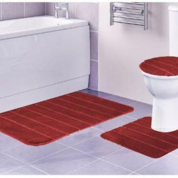 Louise 3 Piece Bathroom Rug Set, Bathroom Rug, Contour Rug and Lid Cover