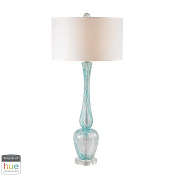 Swirl Glass Table Lamp in Light Blue with White Faux Silk Shade - with Philips Hue LED Bulb/Bridge