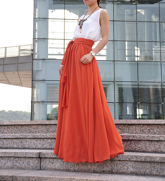Floor Length Summer Skirt High Waist Maxi from Dressbeautiful on