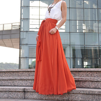 High Waist Maxi Skirt Chiffon Silk Skirts Beautiful Bow Tie Elastic Waist Summer Skirt Floor Length Long Skirt (037), #97