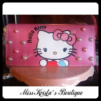 Hello Kitty Wallet Pink Pearl Bow Handbag Clutch Wallet