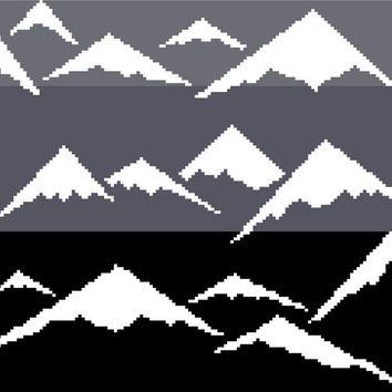 Monochrome modern cross stitch negative silhouette of snow-capped mountains. Contemporary cross stitch pattern.