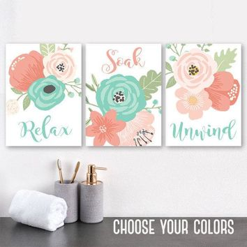 Coral Aqua BATHROOM Wall Art Canvas or Prints  Flower Bathroom Decor, Floral Bathroom Quotes Pictures, Relax Soak Unwind, Set of 3 Artwork