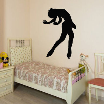 Wall Decals Girl Figure Skater Ice Skating Sport People Home Vinyl Decal Sticker Kids Nursery Baby Room Decor kk517