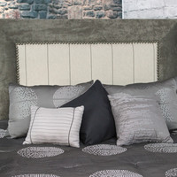 St Kitts Queen/Full Size Beige/Green Upholstered Nailhead Trim Square Headboard