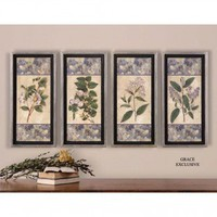 Uttermost Blue and Lilac Wall Art in Hand Applied Dabb (Set of 4) - 41256
