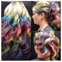 Clip In Rainbow Hair-  Ombre Hair Extension - Weft Clip Extensions - Ombre - Free People -18inch on Blonde Hair
