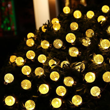 HOT 30 LED lederTEK Solar Outdoor String Lights 20ft 30 LED Warm White Crystal Ball Solar Powered Globe Fairy Lights for outdoor