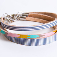 Leather Bracelet Stack Chevron Pattern Printed Leather in Teal Ochre and Pink