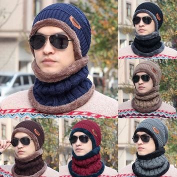 Men Winter Hat Skull Chunky Women Knit Beanie Baggy Ski Cap Warm Unisex Hat Scarf
