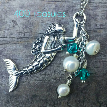 Mermaid Necklace, freshwater Pearls, Swarovski Crystals
