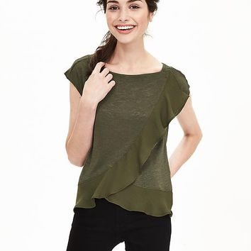 Banana Republic Womens Ruffle Cross Front Tee