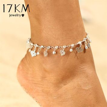 17KM Heart Pendant Anklet For Woman Girls Sequins Crystal Anklets Silver Color Bracelet Charm Sandals Beach Foot Jewelry Gift