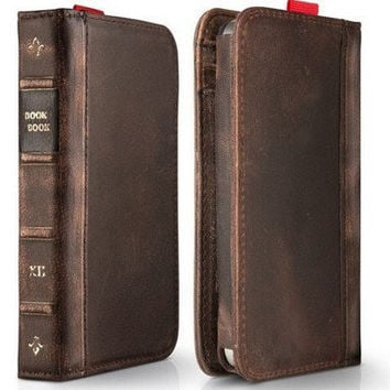 iPhone 4 Leather Wallet Case iphone 5 - iPhone 5  iPhone cover  Vintage Old Book Design Leather Case