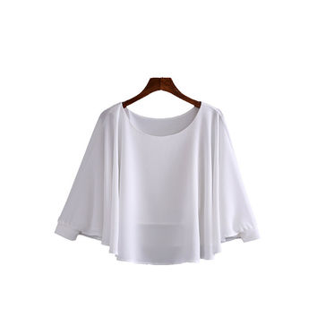 Women sexy batwing sleeve Cape-style blouse double layers chiffon shirts ladies fashion streetwear casual tops blusas LT1032