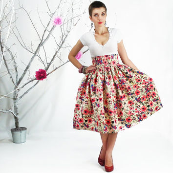 Midi Skirt - Circle Skirt, Full 50's style skirt, Floral Skirt, Tea Length Cotton Skirt, Plus Size Skirt, High Waisted Skirt, Pleated Midi