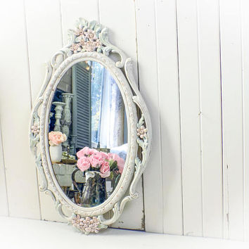 Oval Nursery Mirror, Pink Ornate Shabby Chic Mirror, Floral Mirror, Cream and Pink Mirror, Cottage Chic Ornate Mirror, Baby Girl Nursery