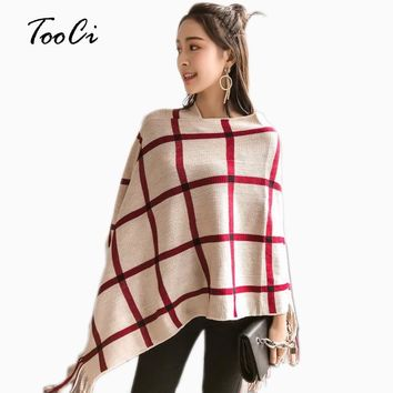 Women Ponchos And Capes Beige Bat Sleeve Women Pullover And Sweater Tassels Poncho Cloak Jacket Coat Outwear 4 Colors