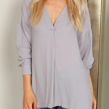 Grey Irregular Double Slit High-low Deep V-neck Going out Blouse