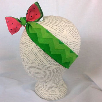 Reversible HeadWrap - Reversible Head Wrap -  Watermelon Headwrap - Chevron Green Watermelon Headwrap - Baby Headwrap - Photo Prop Girl