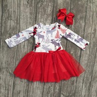 new arrival Christmas Fall/winter baby girls cotton moose reindeer dress ruffle children clothes boutique outfits match headwear