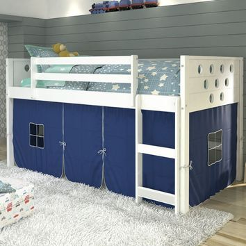 Christopher White Loft Bed with Blue Tent