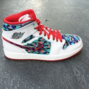 Mens custom Nike Air Jordan 1 shoe, Jordan Camo, Camouflage design,  infrared,