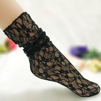 Ladies Lace Transparent Socks [9259024132]
