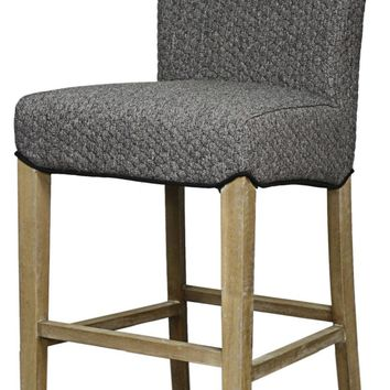 Milton Fabric Bar Stool Brushed Smoke Legs, Gray Honeycomb