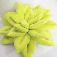 "sunshine yellow Lotus flower  velvet pillow/ cushion in the size 16""x16"""