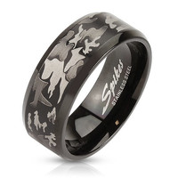 Camouflage Laser Etched Black IP Over Stainless Steel Band Men's Ring