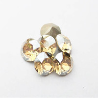 Six Golden Shadow 8mm 1088 Foiled Swarovski Xirius Pointed Back Chaton Crystal  DKSJewelrydesigns