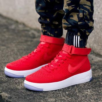PEAPON Nike Air Force 1 Flyknit Mid-High 817420-009 Red For Women Men Running Sport Casual Shoes Sneakers