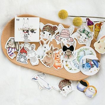 45pcs/pack Kawaii rabbit Mini Paper Stickers Decoration DIY Scrapbooking Sticker Stationery Baking seal / Decoration Label