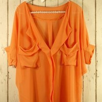 Orange Oversized Top with Front Drape Pockets