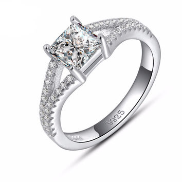 Women's Engagement & Wedding Ring with AAA Austrian Princess Cut Cubic Zirconia Platinum Plated
