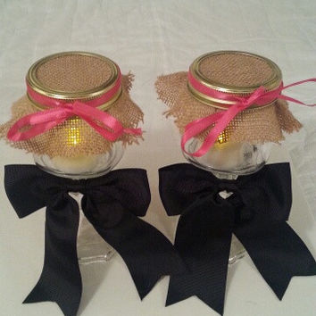 Burlap black coral wedding candle jar / center piece set. Any color to match your wedding