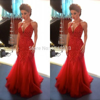 High Quality Red Mermaid Prom Dress Beaded Long Sexy Plus Size Pageant Party Gowns For Evening Occasion 2016