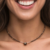 Crystal Beaded Choker in Brown